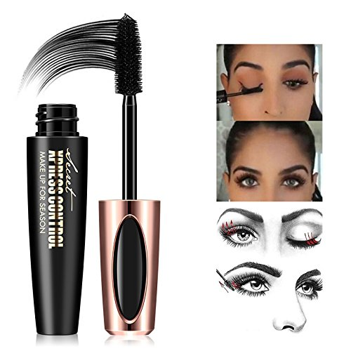 Surenhap 4D Silk Fiber Wimpern Mascara, Wasserdichte Mascara Creme, Erweiterung Faser Lash Mascara, Schwarz