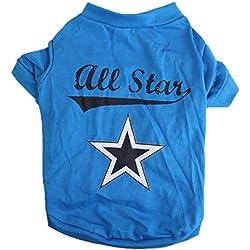 Camiseta del animal domestico - SODIAL(R) Camiseta del animal domestico pequeno linda Ropa del gato cachorro chaleco ropa para perros Estrella del azul de impresion (XS)