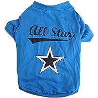 Camiseta del animal domestico - SODIAL(R) Camiseta del animal domestico pequeno linda Ropa del gato cachorro chaleco ropa para perros Estrella del azul de impresion (S)