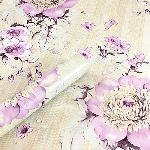 WDragon Vintage Pruple Floral selbstklebende Kontakt-Papier-Regaleinlage zum Abziehen und Aufkleben, für Kommode und Schubladen, 45 cm x 250 cm - Für Kommode Papier Schublade Liner