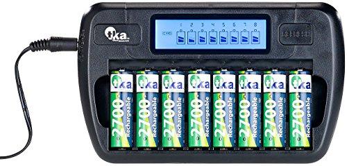 tka Köbele Akkutechnik Akku Ladegerät: Ladegerät für 8 AA(A)-Akkus, LCD-Display und Einzelschacht-Überwachung (Aufladegerät)