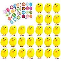 Pulcini di pulcini di Pasqua con pulcini di Pasqua completamente gialli con adesivi pasquali per bambini   Specifiche:   Colore: Colorful  Dimensione pulcino: circa 1,5 pollici / 3,8 cm di altezza Materiale: pulcino di peluche; adesivo di ca...