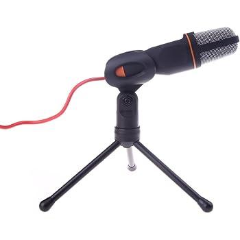Andoer - microfono condensatore - Mic Wired microfono a condensatore con supporto Clip per Chiacchierando Canto Karaoke Laptop PC (Nero)
