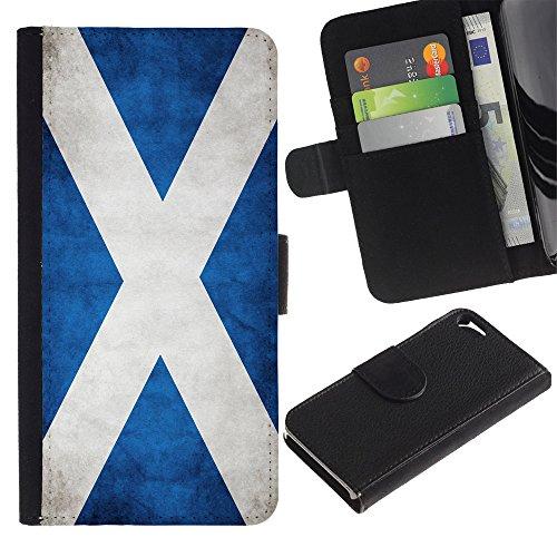 Graphic4You Vintage Uralt Flagge Von Schottland Schottisch Design Brieftasche Leder Hülle Case Schutzhülle für Apple iPhone SE / 5 / 5S Schottland Schottisch