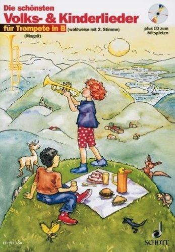 Die schönsten Volks- und Kinderlieder für Trompete (+CD) mit Bleistift -- 31 beliebte Melodien sehr leicht gesetzt für 1-2 Trompeten in B mit Text und Akkordsymbolen (Noten/sheet music) - Gran Gesetzt