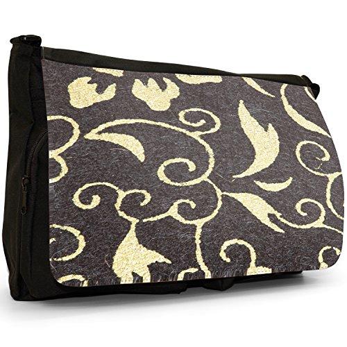 Fancy A Bag Borsa Messenger nero Japanese Art Red Fan Black & White Floral Wallpaper