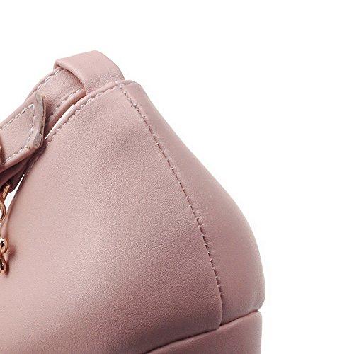 VogueZone009 Damen Pu Leder Mittler Absatz Spitz Zehe Rein Schnalle Pumps Schuhe Pink