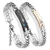 PiercingJ Her King und His Queen Schrift ein Paar Partner Armbänder aus Edelstahl Curb Kette Armband für Herren Damen 7.3
