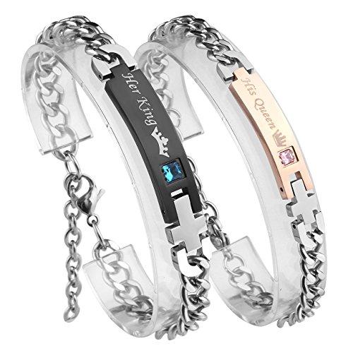 """Zysta \""""Her King\"""" und \""""His Queen\"""" Schrift Curb Kette Armband mit Gravur ein Paar partnerarmband aus Edelstahl Pärchen Armreifen für verliebte Herren Damen Geschenkset"""