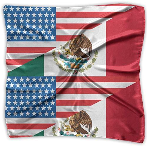 Mexiko Schal (Pizeok Halb USA Halb Mexiko Flagge Männer Frauen Seidiger Schal Taschentuch Bandana Schals Set)