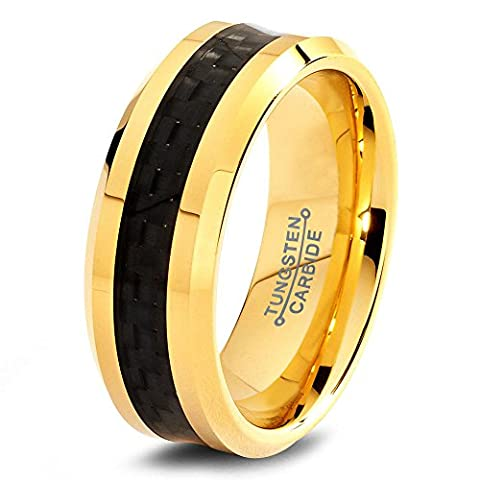Tungsten Wedding Band Ring 8mm for Men Women Comfort Fit 18k Yellow Gold Black Carbon Fiber Brushed Lifetime Guarantee Size Q