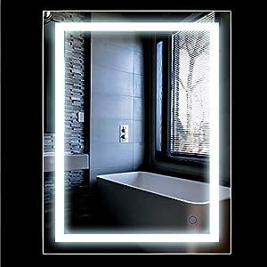 Turefans Wandspiegel LED Badezimmerspiegel Beleuchtet Bad Spiegel 500x700mm/ 600x800mm 22W Kaltweiß A+ (500x700mm)