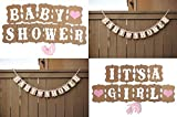 Bestag Fashion Design Vintage Style Baby Shower Party Birthday Heart Banner Decoration Kraft Paper Ribbon (IT'S A Girl)