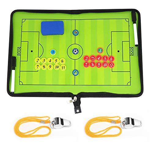BizoeRade Fußball Taktikmappe Coach Board Coach Mappe für Professional Fußball Trainer , Stifte , Radiergummi , Pfeife (Art A)