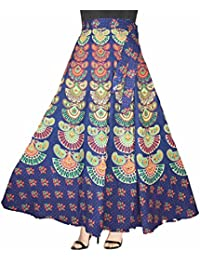 Eshopitude Graceful Multi Color Jaipuri Print Wrap Around Long Skirt For Women