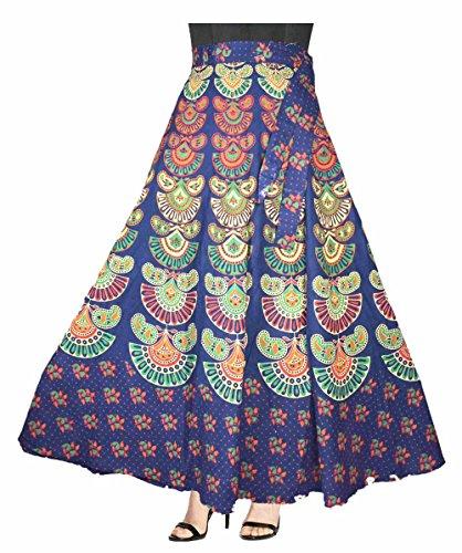 Eshopitude graceful multi color jaipuri print wrap around long skirt for women