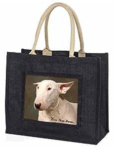 Advanta weiß Bull Terrier, Love You Mum Große Einkaufstasche Weihnachtsgeschenk Idee, Jute, schwarz, 42x 34,5x 2cm
