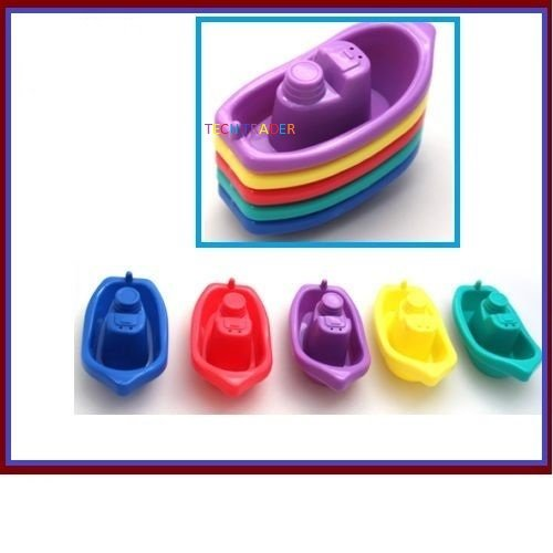 Tech Trader® First Steps Pack of 5 Baby Toddler Bath Tub Play Time Floating Multi Coloured Boats Toy 3 Months+