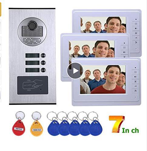 WG Video-, Sprechanlagen 3 Wohnungen 7 Zoll Video-Türsprechanlage HD 1000TVL Türklingel-Kamera