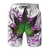 Einst AW Herren Lightweight Quick Dry Surf Beach Board Shorts Purple Weed Badeanzug Badehose