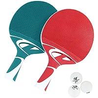 Cornilleau Tacteo Duo Set de 2 Raquetas y 3 Pelotas, Unisex Adulto, Verde/Rojo, Talla Única