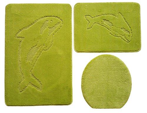Delphin Badgarnitur 3 tlg. Set 55x85 cm Kiwi Grün WC Vorleger ohne Ausschnitt für Hänge-WC