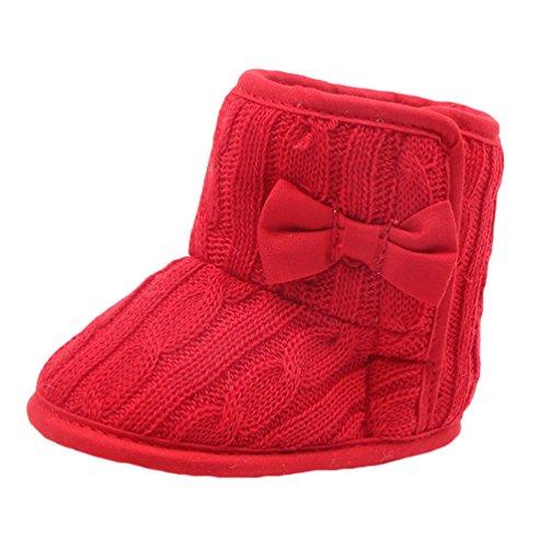 LvRao Baby Jungen Mädchen Winter Weiche Warme Schuhe 1- 12 Monate Säugling Stricken Babyschuhe Neonatal Krabbelschuhe Rot