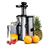 Juicers Best Deals - CUH Professional Slow Juicer for Highly Efficient Fruit Vegetable Juice Extraction Stainless Steel Finish - Quiet Motor, Juice Container, Pulp Container & Cleaning Brush Included