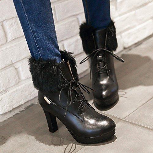 YE Damen Blockabsatz Stiefeletten High Heels Plateau mit Schnürung und Fell 9cm Absatz Elegant Boots Party Schuhe Schwarz