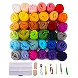 Jeteven 36 Farben Filzwolle Märchenwolle mit Filzwolle Werkzeug Set (10er),geeignet für Nassfilzen und Trockenfilzen