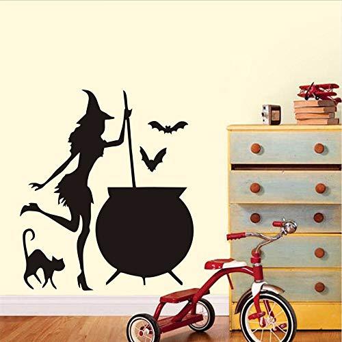 (Waofe Halloween Fliegende Fledermäuse Katze Hexen Wandaufkleber Wohnzimmer Wand Fenster Dekor Hexe Silhouette Vinyl Aufkleber Abnehmbare Kunstwand 38 * 43 Cm)