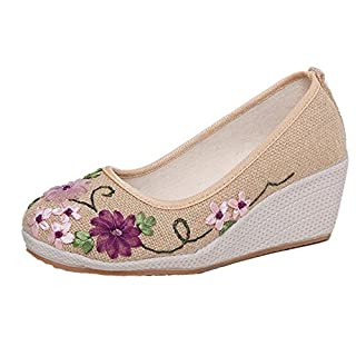 ANDAY Womens Nation Style Vintage Embroidered Shoes Flower Wedges Shoes for Travel Walking Beige