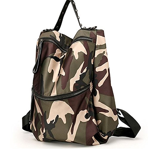 Meaeo zaino di viaggio nuovo tipo di camuffamento femmina zaino borsa a tracolla moda borsa sportiva grande capacità sacchetto,verde