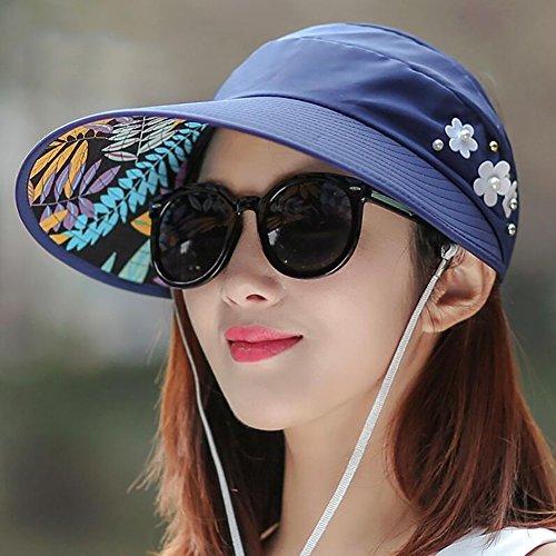 HWTYM Sun Hat Summer Women's Beach Travel Wide Brim Protection UV Casque de soleil extérieur Personnalité de loisirs Chapeau de soleil Chapeau de soleil de randonnée ( Couleur : 13* ) 1*