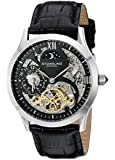 Stuhrling Original Classic Winchester Tempest II Automatic Watch with Silver-White Dial Analogue Display and Black Leather Strap