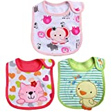 iDream Cartoon Printed Soft Cotton Toddler/Baby Bibs - Elephant, Cat & Duck (Girls, Pack of 3)