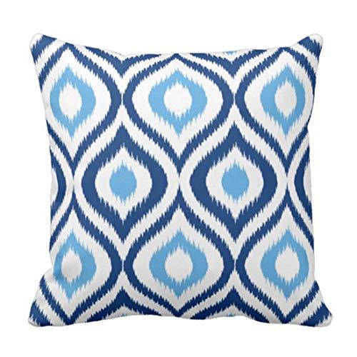 Throw Pillow Cover Colorful Chic Ikat Navy Blue Quatrefoil Decorative Home Decor Square 18 x 18 Inch Pillowcase