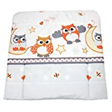 TupTam Baby Wickelauflage Gemustert mit Baumwollbezug, Farbe: Eulen Grau, Größe: 70 x 70 cm