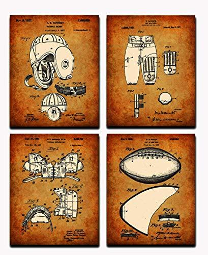 Wall Art Home Decor American Football Patent Poster Prints Set mit 4 Stück, DIN A4 (21 cm x 29 cm), ungerahmt für American Football Spieler Fans Liebhaber (braun)