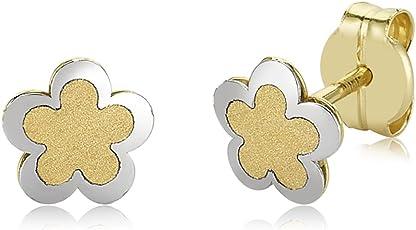 Kinder ohrringe Ohrstecker ECHT GOLD 375 9 Karat Gelbgold Weißgold Kinderohrringe Blume Blümchen Blumenblatt Floral Flower Girls Kinderschmuck