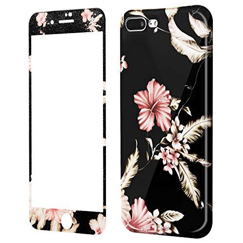 Handyhülle iPhone 7 Plus Blumen, iPhone 8 Plus Hülle mit Panzerglas, Wafly 5,5 Zoll Soft Silikon Schutzhülle+9H [Stoßfest] [Anti-Shock][Anti-Fingerabdruck] Panzerglasfolie mit Muster (Morgenruhm)