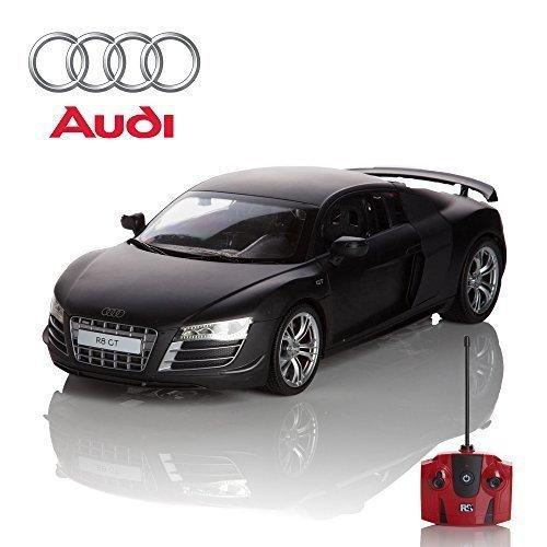 Audi R8 GT, Fernbedienung Auto für Kinder mit funktionierendem Lichter, elektrisch ferngesteuert auf Straße RC Jungen Mädchen Spielsachen, offiziell lizenziert 1:24 Modell, 27MHz matt schwarz RTR, Audi Auto