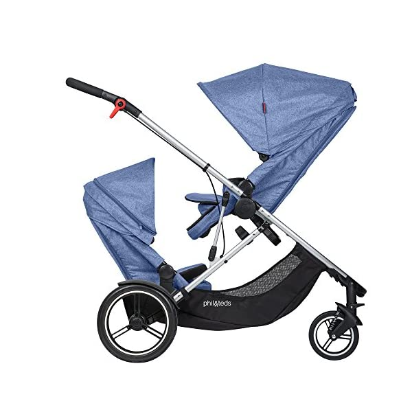 phil&teds Voyager Buggy Pushchair, Blue phil&teds 4-in-1 modular seat with four modes: parent facing, forward facing, lay flat bassinet (on buggy) and free standing bassinet (off buggy) Revolutionary stand fold with 2 seats on Double kit easily converts to lie flat mode as well 10