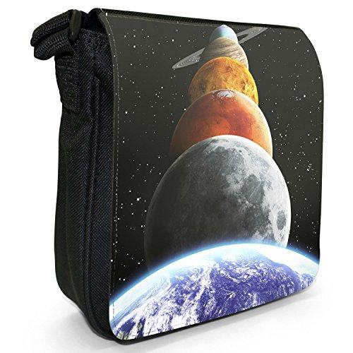 Esplorazione dello Spazio sacchetto di tela borsa a tracolla colore Nero Taglia S Planets Of The Solar System