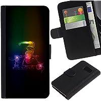 For Samsung Galaxy S6 SM-G920,S-type® Santa Claus Neon Winter Christmas Sleigh - Disegno di cuoio (Sleigh Pocket)
