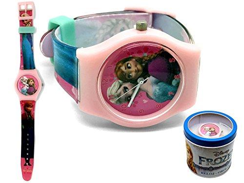 Preisvergleich Produktbild Kinderuhr Die Eiskönigin + Aufbewahrungsdose / Uhrenbox - Uhr Kinder Armbanduhr - für Mädchen - Quarz Analog Lernuhr - Quarzuhr / Box Dose - Kinder-Armbanduhr Disney Frozen