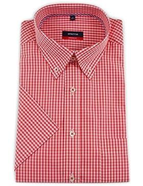 ETERNA Herren Kurzarm Hemd Modern Fit Button-Down-Kragen rot / weiß kariert mit Piping 8363.53.C194