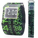 Pavaruni - Papier-Armbanduhr aus wasserdichtem Tyvek-Material - Digitale Anzeige - handgefertigt Familie und Freunde - in Holzbox (Matrix)