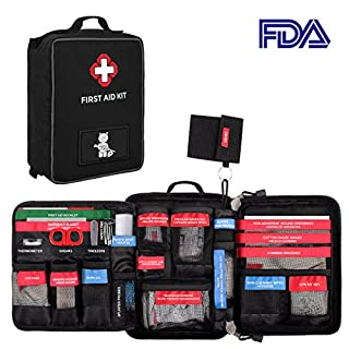 96 Pieces First Aid Kit Molle Waterproof Bag Portable Medical Storage Pouch Included Emergency Blanket, Bandages, CPR Set for Outdoor Vehicle Hiking Hunting Travel Sports