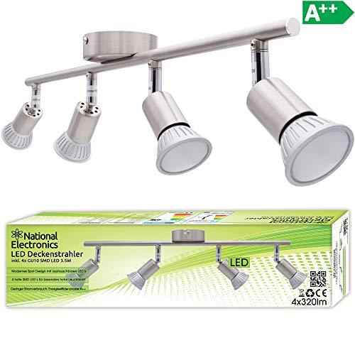 National Electronics Deckenstrahler 4-Flammig | GU10 3.5W 320 Lumen SMD LED | Deckenlampe AC 230V 120° Deckenleuchte warmweiß